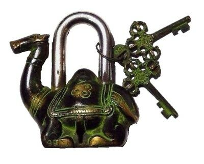 Camel Shape Lock Antique Vintage Repro Handmade Brass Padlock With Working Keys