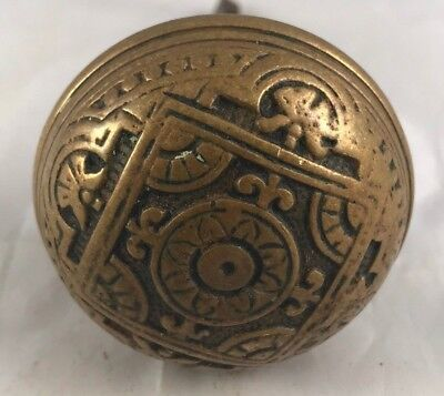 Antique Brass Door Knob Eastlake Victorian Hardware Collectible Doorknob