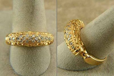 "Ring Byzantine Gold Yellow "" E P "" With Stones Of Zirconium"