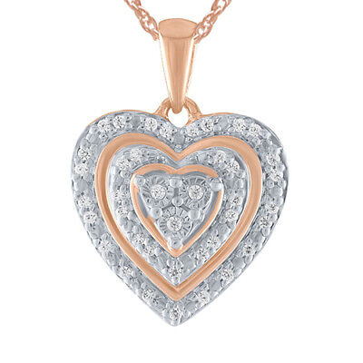 1/10 Ct 14K Rose Gold Over Sterling Silver Heart Pendant Necklace
