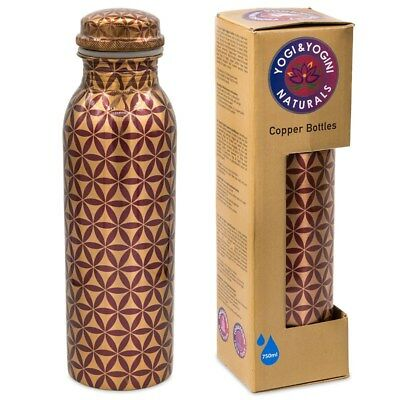 Purple Printed Flower Of Life Copper Bottles. Size 750ml
