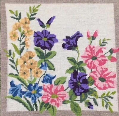 Fab Vtg Completed Needlepoint Tapestry, Floral Flower Display Cushion Front