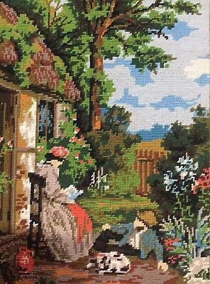 Vtg Completed Needlepoint Tapestry Myles Birket Foster Story Time Old Masters