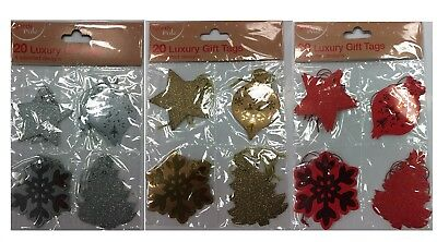 Pack of 20 Christmas Metallic Glitter Gift Tags Red Gold Silver Assorted Design