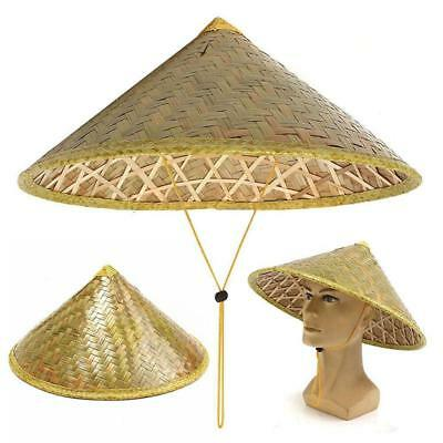 Straw Bamboo Durable Chinese Oriental Sun Fish Hat Farmer Coolie Rice Hat
