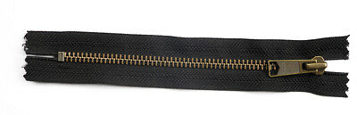 YKK METAL ZIPS, CLOSED END. BLACK DAL 1. VARIOUS SIZES IN INCHES. Zipper size  7