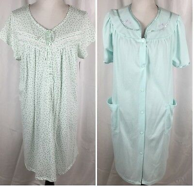 Lot 2 Womens Large L Earth Angels Nightgown   Adonna Snap Front Robe ... b2793b39c
