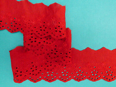 "5 METRES Copper Red Broderie Anglaise Lace Trim 2""/5cm TOP SELLER Trimming"