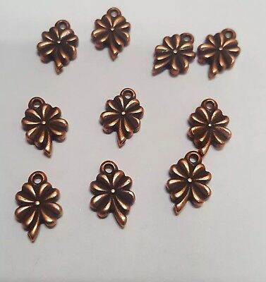 Charm Lot of 10 Pieces  Four-Leaf Clover Antique Copper Plated Pewter