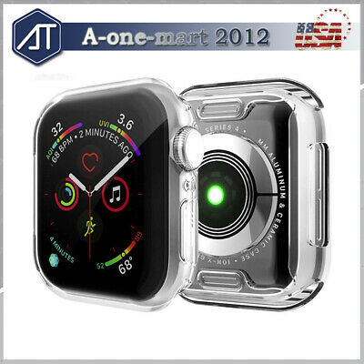 For Apple Watch Series 4/3 38MM 42MM 40MM 44MM Full Cover TPU Case Clear Bumper