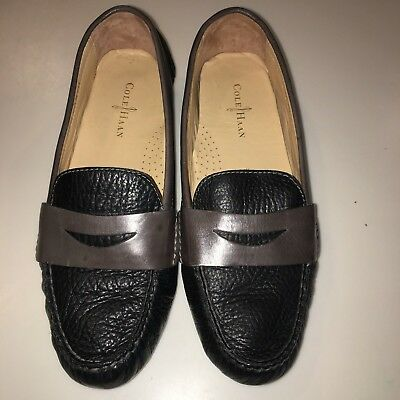 fa776178742 Cole Haan Soft Leather Black and Brown Air Sadie Driver Penny Loafer 6 1 2B