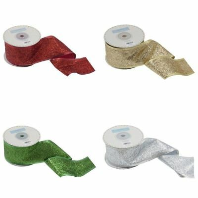 Wire Edge Glitter Ribbon 50mm Wide- Gold/Red/Silver/Green - Multibuy & Free Post