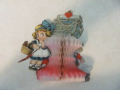 Vintage Valentine Card Made in Germany Tissue Fan 3D  Excellent Condition