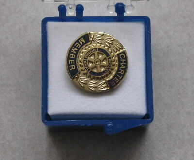 """New Rotary International Charter Member 5/8"""" Gold Plated Pin"""