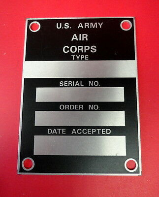 Army Air Corps Aircraft Data Plate