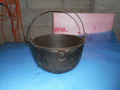 Large Antique Cast Iron Bail handle Kettle Bowl