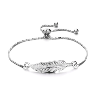 Silver Adjustable Ladies Women Girl Leaf Fashion Jewelry Bracelet Gift Present