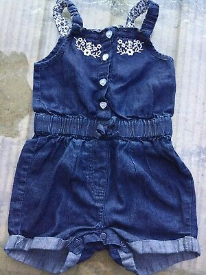 Girls Primark Denim Shorts All In One Outfit Age 12-18 Months