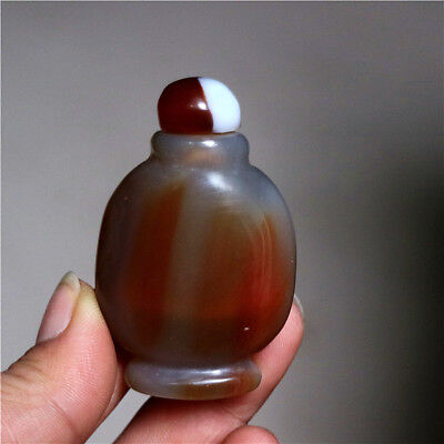 Natural Chalcedony Agate Snuff Bottle - Chinese Exquisite Hand-carved