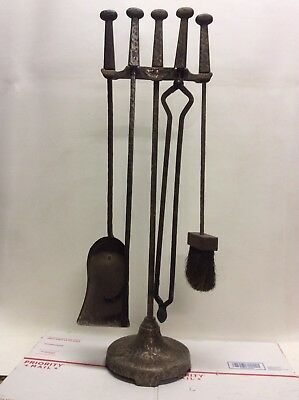 Cahill Fireplace Tools 5 Piece Hand Forged Iron Art & Crafts Deco