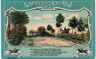 Civil War Sheridan's Ride #8/10 Road From Winchester 1910 Unused Patriotic South