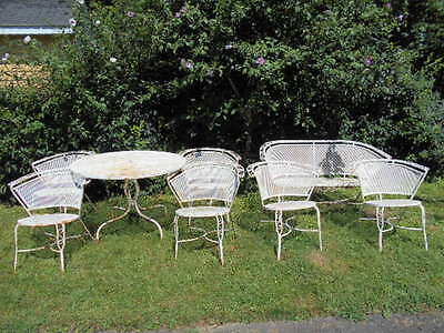 All Matching Antique (5)pc.Wrought Iron Patio Table&Chairs+(3)pc.Lounging set