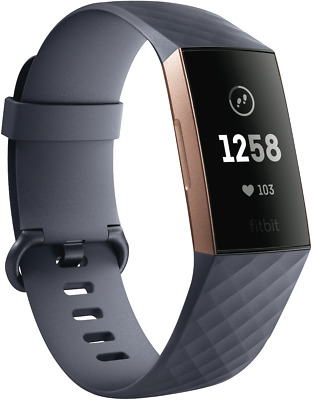 NEW Fitbit 4288357 Charge 3 - Blue Grey/Rose Gold Aluminium