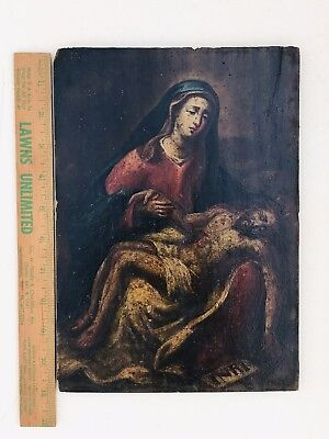 RARE Old Antique Oil Wood Painting Mary Jesus Church Crucifixion Christ INRI