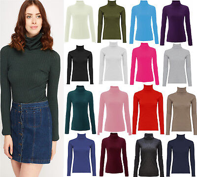 New Womens Ladies Skinny Ribbed Polo Turtle High Roll Neck Long Sleeve Girls Top
