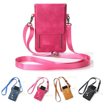 ee8f52c4b36a 6.4 Women Leather Mobile Phone Bag Case Pouch Cross Body Purse Mini  Shoulder Bag