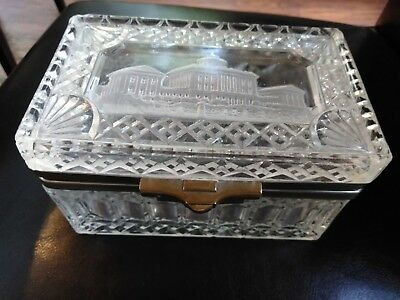 Rare Antique RUSSIAN Clear Pressed Glass TEA CADDY   1911