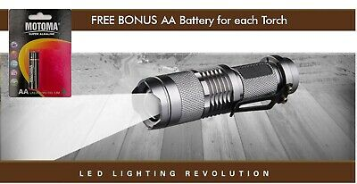 CREE Q5 LED Zoomable Focus Waterproof Flashlight Torch 1200LM w/ free AA battery