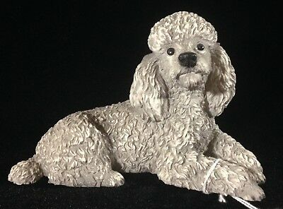 """NEW! Castagna Gray Poodle Dog Figurine 5.5"""" Long Lying Down Sculpture Statue"""