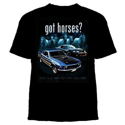 Ford Mustang Got Horses? Black T'Shirt Print Front And Back