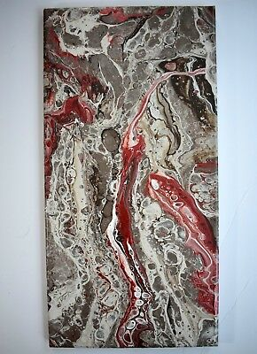 Abstract Art Painting Acrylic Fluid Pour Granite Brown Re Stretched Canvas 10x20