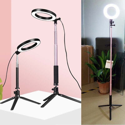 Dimmable LED Ring Fill in Light Tripod for Camera Studio Selfie Photography UK