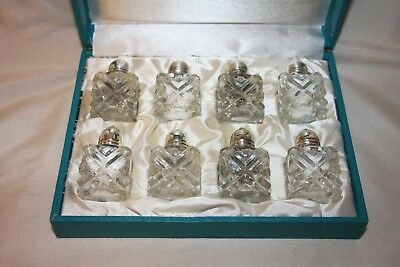 Eales 1779 Silverplate Glass Salt and Pepper Shaker VTG Set of 8 Complete W/ Box