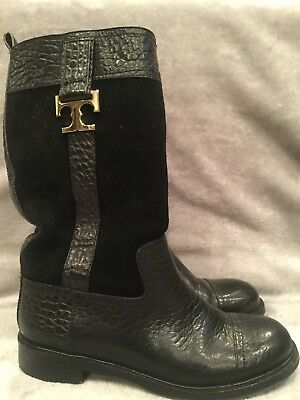 TORY BURCH COREY MID CALF BOOTS BLACK 8M Stamped Leather & Suede