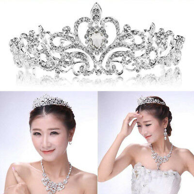 Fashion Silver Bridal Princess Austrian Crystal Tiara Wedding Hair Accessory US