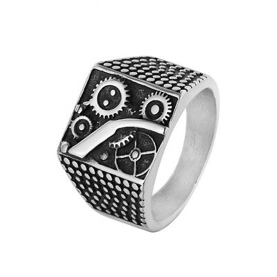 Retro Mens 316L Stainless Steel Silver Square Mechanic Gear Biker Band Ring Punk