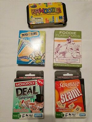 Game Lot, Monopoly deal, Scrabble slam, Kanoodle, mad libs, all complete