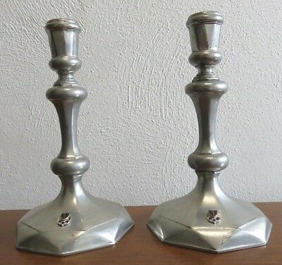 "2 Stieff Pewter Colonial Williamsburg 7.25"" CW-30 Pewter Candlesticks, Octagonal"