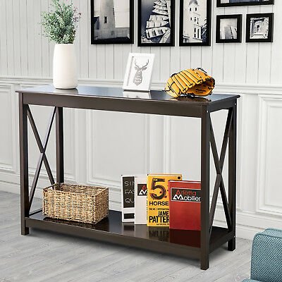 End Table Console Side Table Shelf Storage Wooden Hall Desk for Living Bed Room