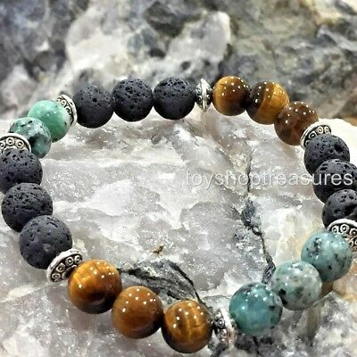 Aromatherapy diffuser Essential Oil Lava Bracelet African Turquoise Tigers Eye