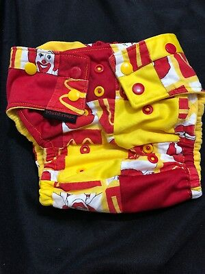 Mudshrimps Red Yellow Size cloth diaper snaps McDonald Rare Pocket One Size