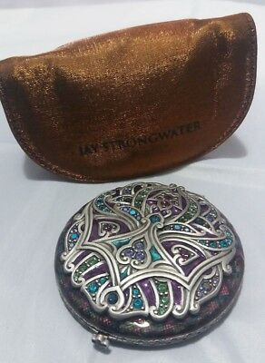 Jay Strongwater Double Mirror Compact w/ Swarovski Crystals