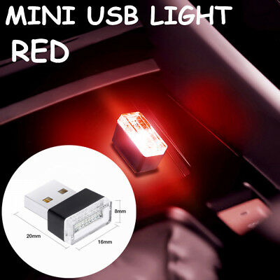 Mini USB Red LED Car Auto Interior Light Neon Atmosphere Ambient Lamp Universal