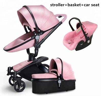 3 In 1 Luxury Baby Stroller, PU Learher. Stroller, Sleeping Basket and Car Seat.
