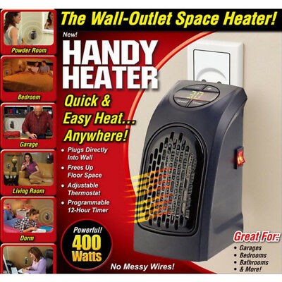 400W Mini Handy Wall-Outlet Heater Electric Air Radiator Home Furnace Warmer