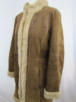 Vintage GUESS Genuine Suede Leather Coat Faux Shearling Fur Brown Tan Size XL